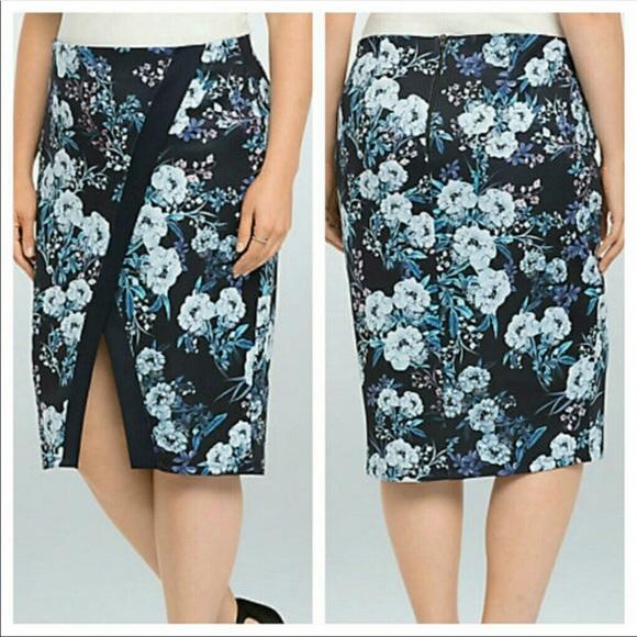 fd9a2e93a2 torrid Skirts | New Stretch Skirt Floral 0x Large L Blue | Poshmark
